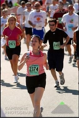 Dani's First 5K finish line photo--I looked like death!